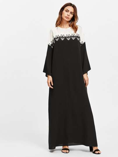 Lace Applique Two Tone Kaftan Dress
