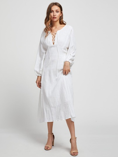 Lace Up Front And Back Bishop Sleeve Dress