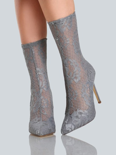 Lace Ankle Boot Heels GREY