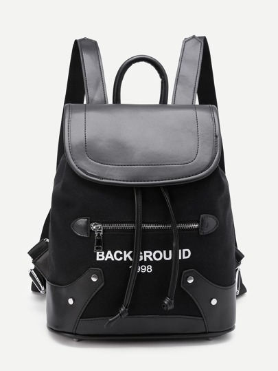 Letter Print Drawstring Flap Backpack