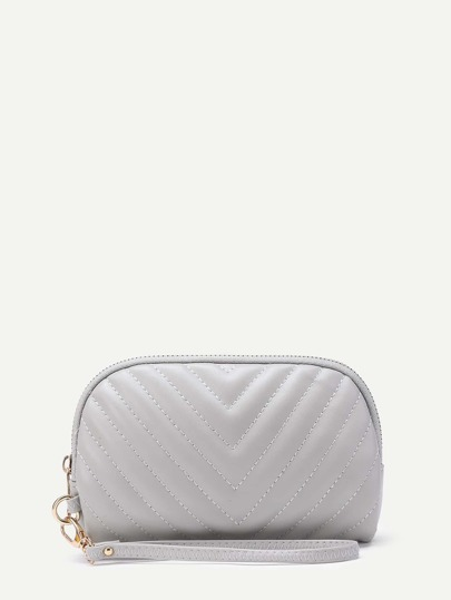 PU Chevron Stitch Clutch Bag