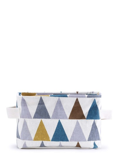Color Block Triangle Print Desktop Storage Bag