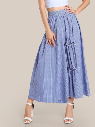 Gingham Print Oversize Pants BLUE