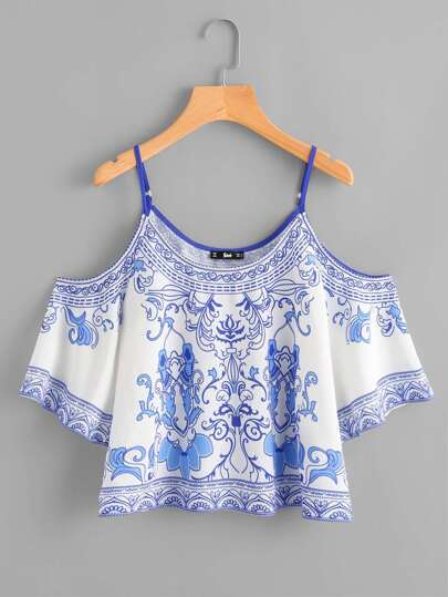 Porcelain Print Cold Shoulder Top
