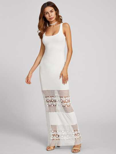 Dotted Lace Crochet Hollow Out Tank Dress