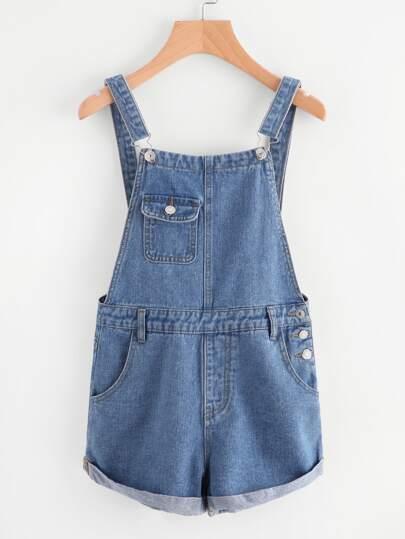 Cuffed Denim Overall Shorts