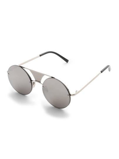 Double Bridge Rimless Round Sunglasses