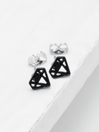 Hollow Diamond Shaped Stud Earrings