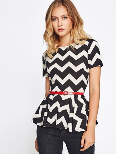 Chevron Print Peplum Top