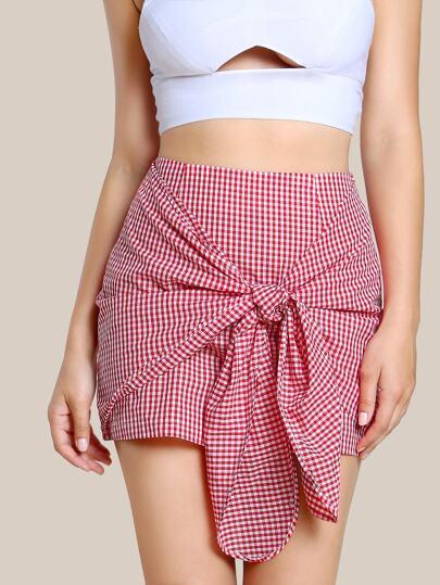 Overlap Tie Front Gingham Skirt