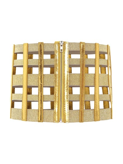 Cut Out Zipper Front Corset Belt