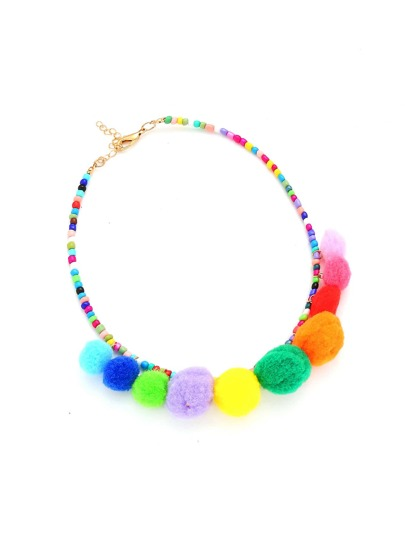 Pom Pom Decorated Beaded Necklace