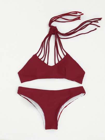 Strappy Design Halter Bikini Set