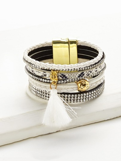 Tassel And Rhinestone Detail Layered Bracelet