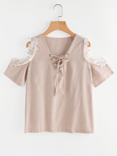 Contrast Crochet Trim Open Shoulder Lace Up Pinstripe Top