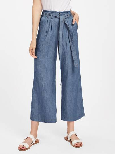 Self Tie Chambray Culotte Pants