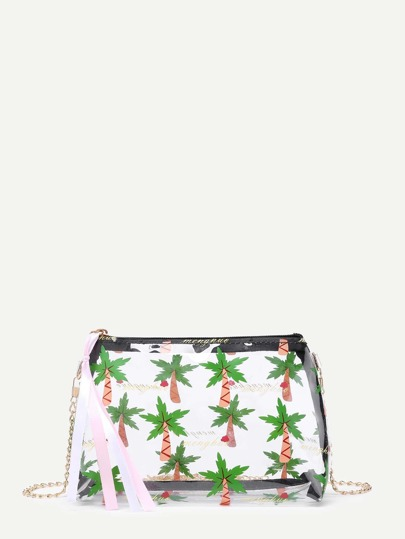 Palm Tree Print Chain Bag