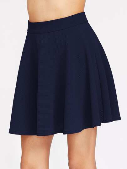 Zip Back Textured Skater Skirt
