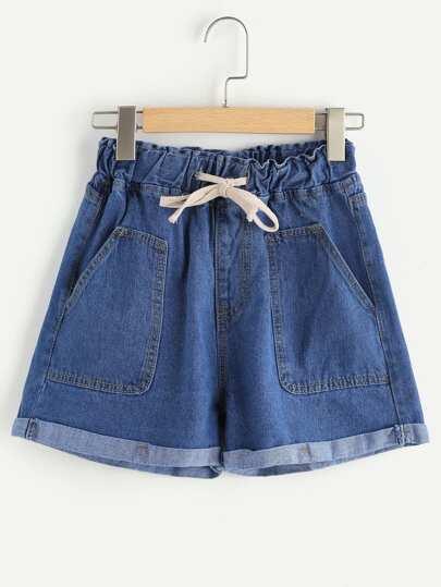 Elastic Waist Drawstring Cuffed Shorts