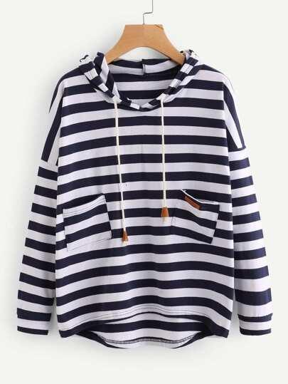 Striped Dip Hem Hoodie