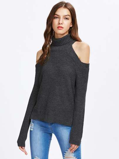 Roll Neck Cutout Shoulder Vented Side Jumper