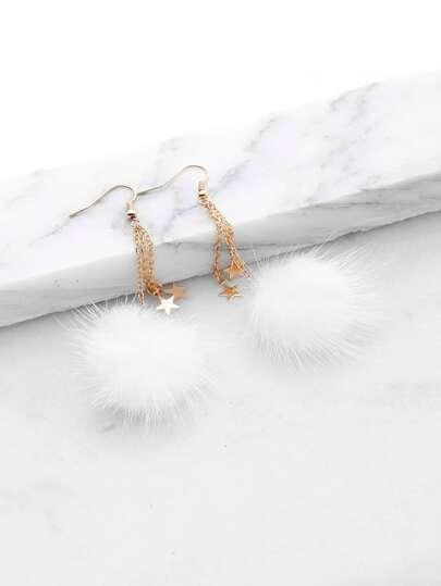 Aretes caídos con detalle estrella con pompones