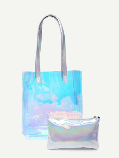 Iridescent PU Tote Bag With Clutch