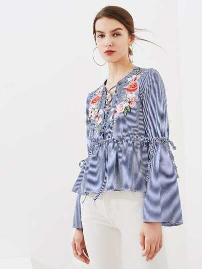 Flower Patch Trumpet Sleeve Lace Up Peplum Top