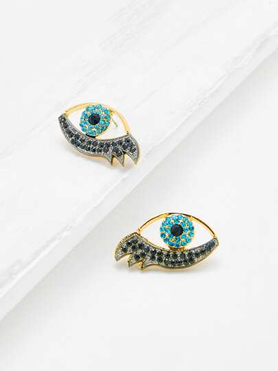 Rhinestone Eye Design Stud Earrings