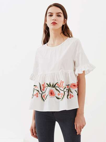 Trumpet Sleeve Flower Embroidered Smock Top