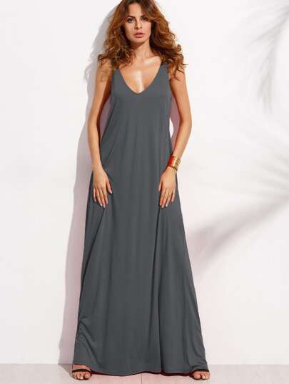 Zelt Kleid mit Doppel V-Ausscnitt