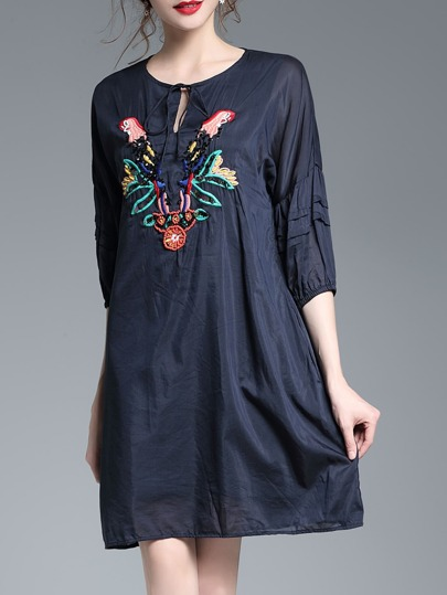 Tie Neck Hollow Birds Embroidered Dress