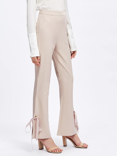 Grommet Tie Side Split Flare Pants