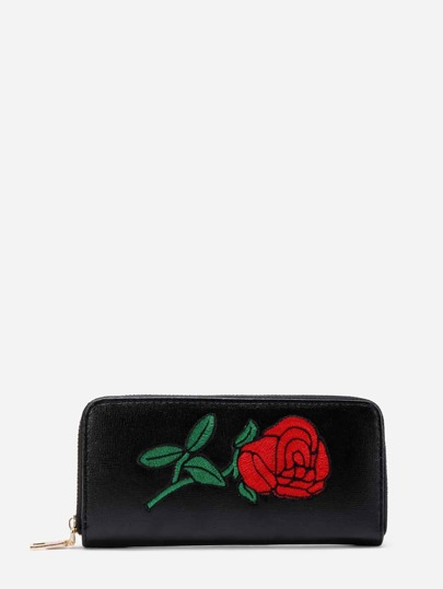 Rose Embroidery PU Wallet