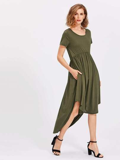 High Low Curved Hem Dress
