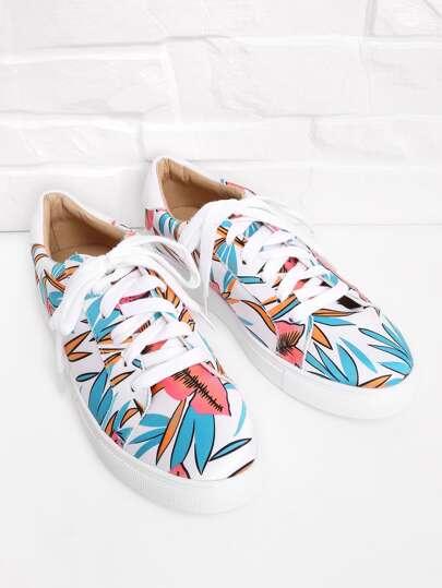 Zapatillas de deporte con estampado floral con cordón