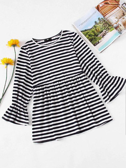 Bell Sleeve Striped Smock Tee