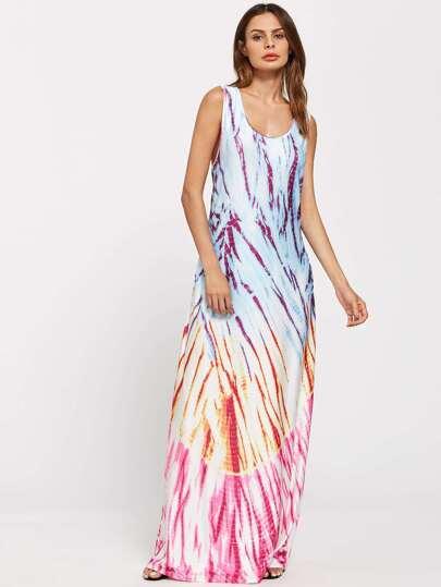 Tie Dye Low Side Floor Length Dress