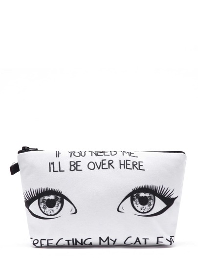 Eye & Slogan Print Makeup Bag