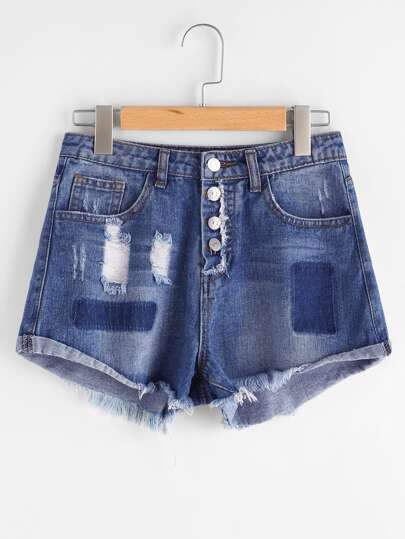 Shorts desgastados en denim en color block