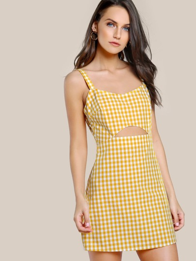Cutout Midriff Gingham Pinafore Dress