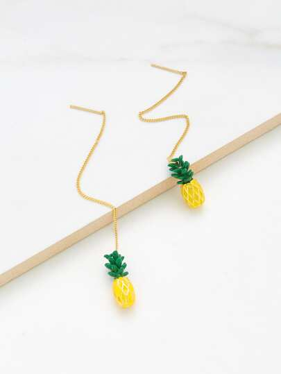 Pineapple Design Long Drop Earrings