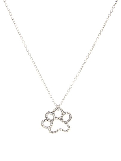 Rhinestone Hollow Paw Pendant Chain Necklace