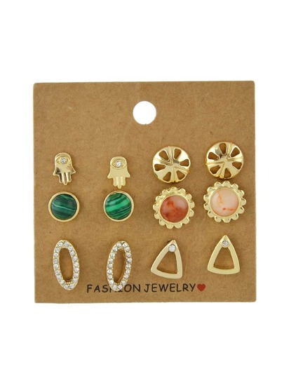 6 paris/set Hand Triangle Flower Cute Stud Earrings