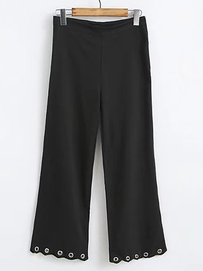 Wave Hem Eyelet Detail Pants