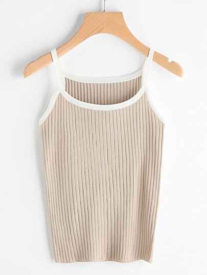 Contrast Trim Ribbed Knit Cami Top