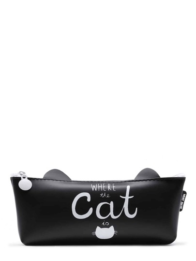 Slogan Print Cat Shaped Pencil Case