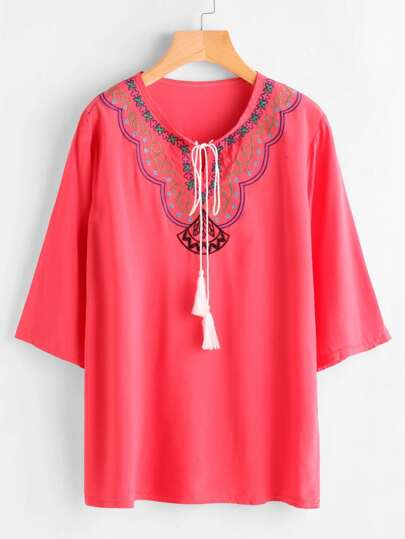 Tassel Tie Neck Embroidery Blouse