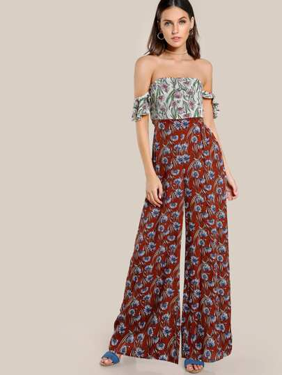 Cutout Side Smocked Back Palazzo Jumpsuit