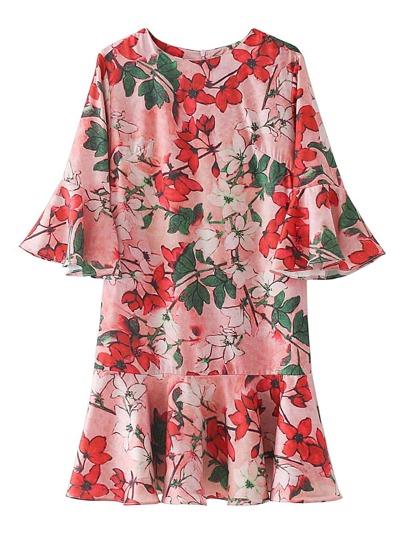 Bell Sleeve Ruffle Hem Floral Dress